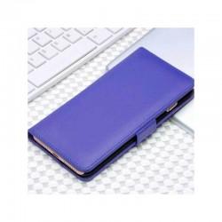 Etui portefeuille en simili cuir pour iPhone 7 ou iPhone 8 Violet Bleu électrique