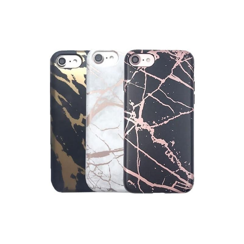 Coque souple or texture marbre pour iPhone 7 ou 8